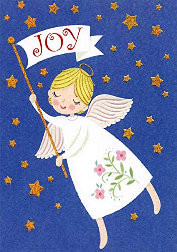Religious Christmas Card Designs.Amazon Com Joy Angel And Gold Stars Box Of 18 Designer