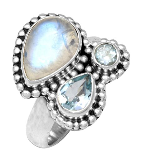 YoTreasure Rainbow Moonstone Blue Tpaz 925 Sterling Silver Rings Silver Jewelry