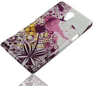 HandyFrog teléfono móvil Carcasa Rígida para Sony Xperia T LT30i LT30p cubierta protectora carcasa de plástico en color blanco/dorada rosa Abstract diseño de flores