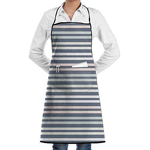 LOGENLIKE Stripe Kitchen Aprons, Adjustable Classic Barbecue Apron Baker Restaurant Black Bib Apron with Pockets for Men and Women