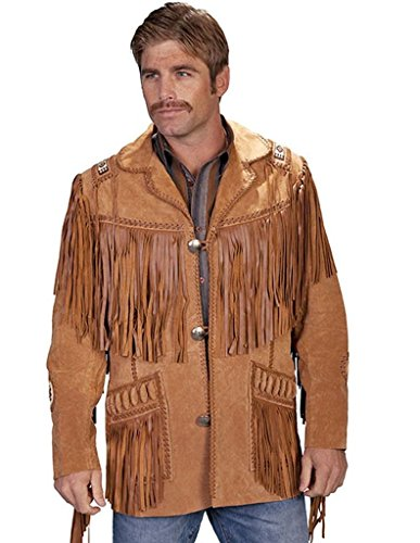 Boar Suede Jacket (Scully Men's 758 Boar Suede Beaded Fringe Jacket Bourbon (56))