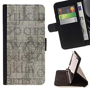 Momo Phone Case / Flip Funda de Cuero Case Cover - Letras del alfabeto azul gris Random Moderno - LG G2 D800