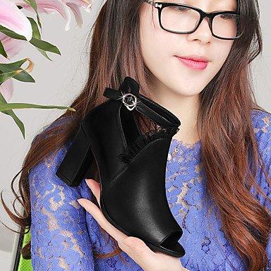 ligaosheng Informal Sandalias y burgundy Trabajo Robusto Negro Bermellón Semicuero Vestido Oficina Confort Mujer Tacón IqTrzwUI