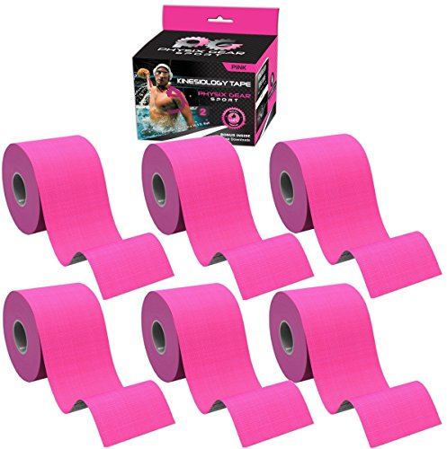 Physix Gear Sport 6 Pack Kinesiology Tape - Free Illustrated E-Guide - 16ft Uncut Roll - Best Pain Relief Adhesive for Muscles, Shin Splints Knee & Shoulder - 24/7 Waterproof Therapeutic Aid (Pink) by Physix Gear Sport (Image #1)