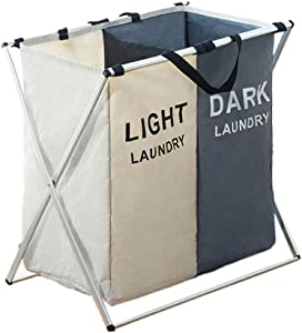Showlovein Laundry Hamper 3 Section / 2 Section Laundry Basket Clothes Hamper Laundry Bag Laundry Sorter Laundry Organizer Collapsible