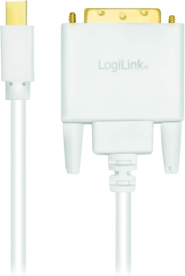 DVI-D 24+1 v1.2 a DVI Cable de conexi/ón Mini-DisplayPort Full HD 1,8m Blanco en Color Blanco