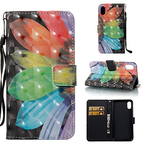 9 à de Cuir Sunflower BONROY Portefeuille 3D Etui Slots Rabat Painted Etui Case Couleur 3D Arbre Housse iPhone de Cover Carte Support Painted x8wx5XFqp