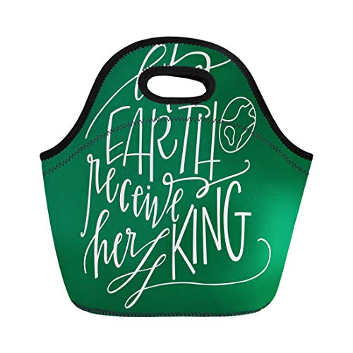 (Semtomn Lunch Tote Bag Christian Let Earth Receive Her King Christmas Quote Carol Reusable Neoprene Insulated Thermal Outdoor Picnic Lunchbox for Men)