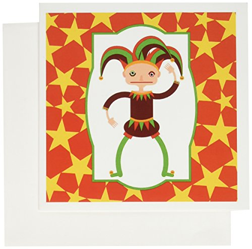 3dRose Jester or joker with funny hat cartoon - Greeting Cards, 6 x 6 inches, set of 6 (gc_160638_1)