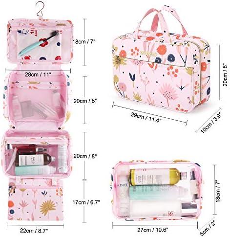 Tuscall Hanging Toiletry Bag Large Travel Toiletry Organizer Cosmetic Bag Wash Bag Kit for Women Men (Pink)