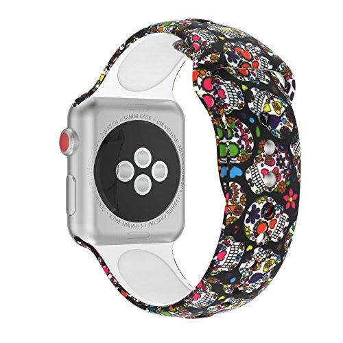 Price comparison product image Wenicaca Bracelet for Apple Watch 38mm / 42mm iWatch Replacement Wrist Band Pattern Printed Leather (Skeleton,  42mm)