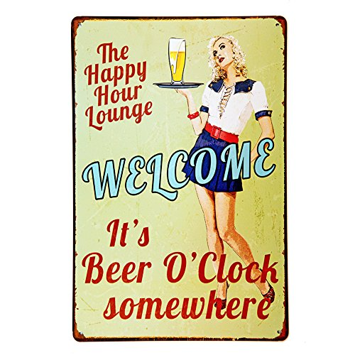 (NEW DECO Tign Sign Happy Hour Welcome It's Beer O'clock Somewhere Vintage Retro Rustic Metal Tin Sign Pub Wall Deor Art 8x12 Inches (20x30cm))