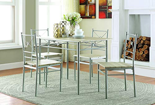 - 5-piece Rectangular Dining Set Brushed Silver and Taupe