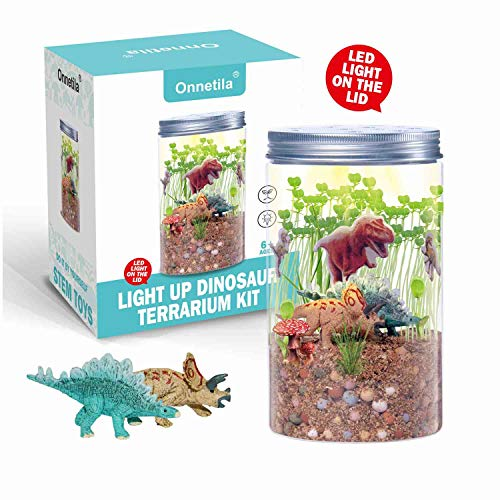 Onnetila Dinosaur Fairy Garden in a Jar | Light-up Terrarium Kit for Kids | Grow and Glow STEM Educational Toys for Children