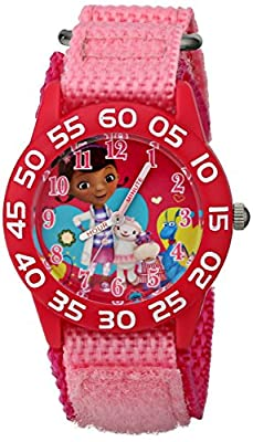 Disney Kids' W001685 Doc McStuffins, Plastic Case, Pink Nylon Strap, Analog Display, Pink Watch from Disney