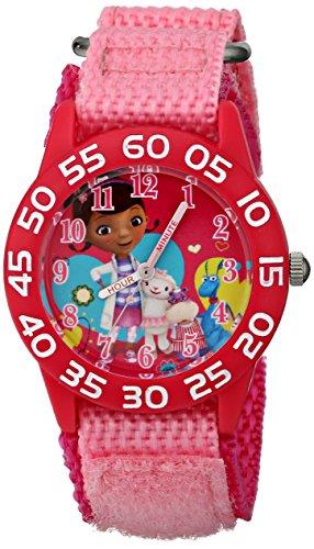 Disney Kids' W001685 Doc McStuffins, Plastic Case, Pink Nylon Strap, Analog Display, Pink Watch