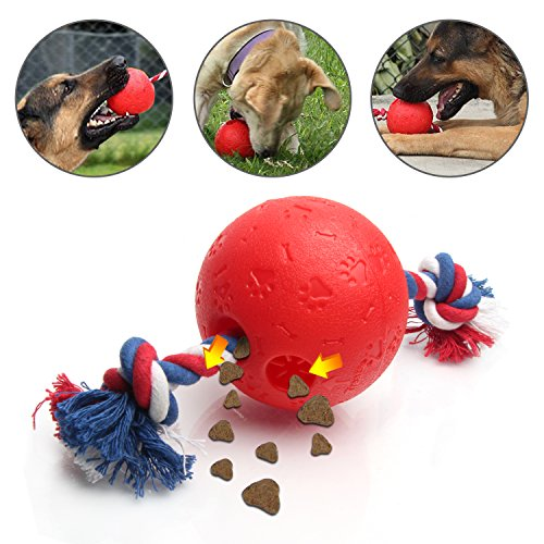 ShangjingMeixie Dog Chew toys IQ Treat Red Ball Interactive Food Ropes For - Pals Three Pet Level