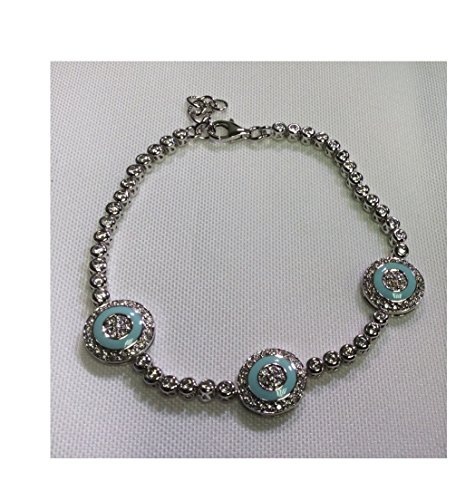 Alef Judaica 7.5 Inch Adjustable Silver CZ Tennis Bracelet with Lobster Lock - Three Round Evil Eye Charms with Turquoise Enamel