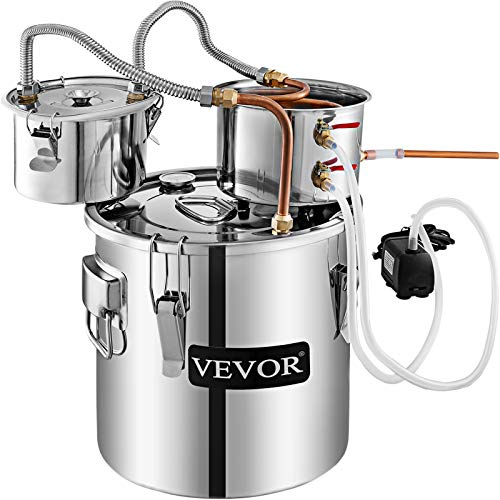 VEVOR Moonshine Still 5 Gal 21L Alcohol Distiller Copper Tube with Circulating Pump Home Brewing Kit Build-in Thermometer for DIY Whisky Wine Brandy, 5Gal, Stainless Steel