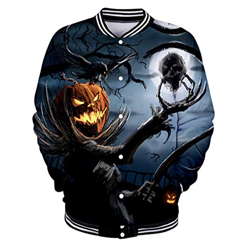 f478e7d26c DRAGONHOO t Shirts for Men Mens Casual Scary Halloween Lover 3D Print Party  Long Sleeve Coat Top Blouse Black