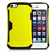 iPhone 5S Case, MagicMobile® Credit Card Case for iPhone 5 Hybrid Armor Slim Wallet Cover for iPhone 5 [Build-in Credit Card Slot Holder] Shockproof iPhone 5s Case [Yellow - Black] + Clear Protective Screen Protector and Stylus