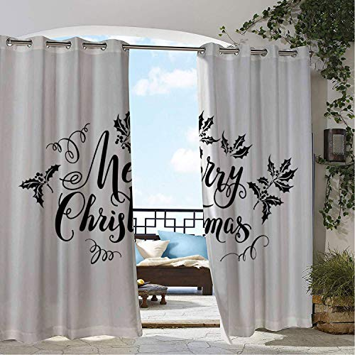 (Linhomedecor Balcony Waterproof Curtains Merry Christmas Mistletoe Holly Berry Curlicue Design Monochrome Noel Print Charcoal Grey and White pergola Grommet Patterned Curtains 96 by 96 inch)
