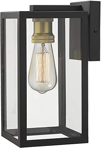 Zeyu Outdoor Porch Lights Wall Mount, 1-Light Exterior Wall Mount Light Fixtures in Black and Gold Finish with Clear Glass, 02A151BK