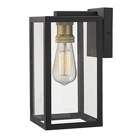 Zeyu Outdoor Porch Lights Wall Mount 1 Light Exterior Wall Mount Light Fixtures In Black And Gold Finish With Clear Glass 02a151bk
