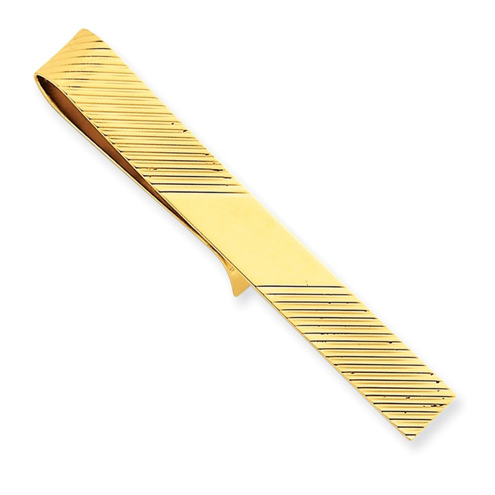 14k Yellow Gold Tie Bar with Diagonal Stripe Design
