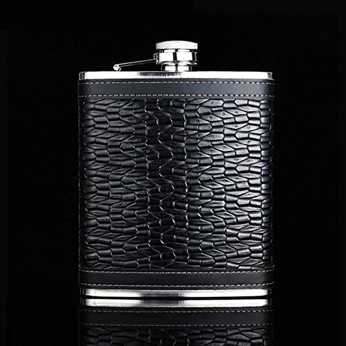 ICRI-SHOP 18 Oz Stainless Steel Hip Flask Leather Black Fluted Leather Outdoor Sports Portable Wine Flask For Whiskey