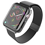 SUPBAND Band with Case (Black) Compatible with Apple Watch Series 4 44mm, Case - Transparent TPU Screen Protector, Ultra-Slim, and Band - Adjustable, Durable Stainless Steel Strap for iWatch