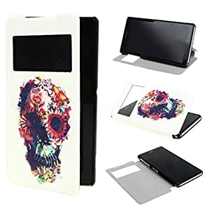 TJA View Window Painting Art Abstract Style Design PU Leather Flip Stand Case Cover for Sony Xperia Z2