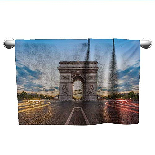 Bensonsve Bath Towel European,Paris Famous Champs Elysees Avenue Historical Monument French Culture Panorama,Multicolor,Microfiber Hair Towel for Curly ()