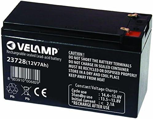 Velamp 23728 Batería de Plomo Recargable, Conexiones Faston, 12 V, 7 Ah. para UPS, Sistemas de Alarma, Pasatiempos, Negro