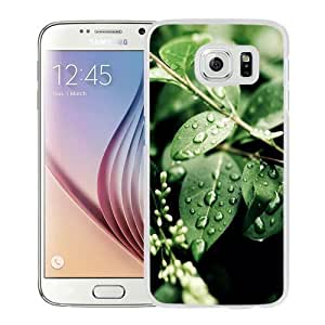 Fashionable Custom Designed Samsung Galaxy S6 Phone Case With Macro Water On Green Leaves_White Phone Case