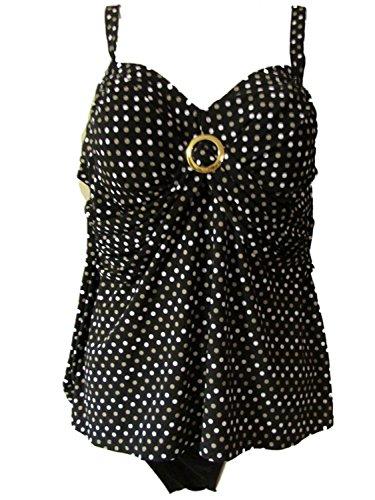 Miraclesuit Plus Size Women's Tankini 2 Piece Set Polka Dot Black (16W) (Miraclesuit Tankini Piece Two)