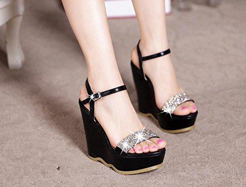 BaiLing Womens summer sandals / Wedge Heel waterproof / Rhinestones thick bottom / small size female shoes Black nRbZGcnN