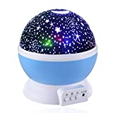 LifeFly Night Light Moon Star Projector 360 Degree Rotation - 4 LED Bulbs 9 Light Color Changing
