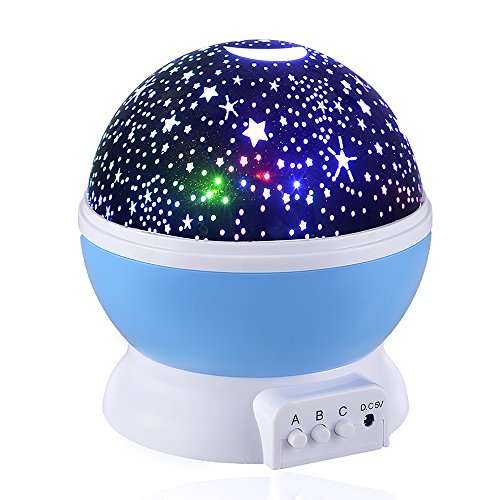 [New Generation] Sun And Star lighting Lamp,Petrelstore 4 LED beads 360 Degree Romantic Lamp Relaxing Mood Light Projector Baby Nursery Bedroom Children Room and Christmas Gift (Blue)