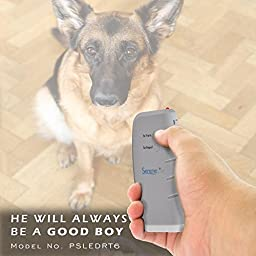 SereneLife PSLEDRT6 Dog Trainer Repellent  with Flashlight / Powerful Ultrasonic Bark Stopper - Dog Trainer Device -  Protect Yourself + Train Your Dog