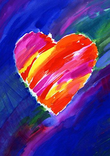 Toland Home Garden Heart In Blue 12.5 x 18 Inch Decorative Colorful Watercolor Valentine Garden Flag - Heart Garden Flag