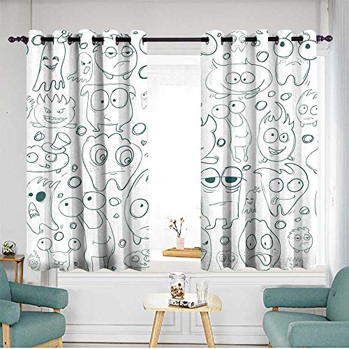 Thermal Insulating Blackout Curtains Seamless background contour funny
