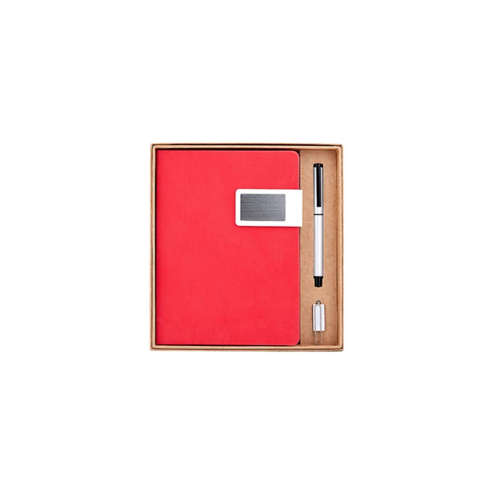 WUZHONGDIAN Notebook Magazine, Exquisite Padded Notebook, Pager Gift - for Diary Notes Diary and Plan - Three-Piece Gift Box / 120 Sheets Office Supplies ( Color : Red )