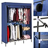 Etuoji New Detachable Freestanding Wardrobe DIY Clothes Closet Portable Wardrobe Clothes Storage Rack with Shelves Fabric Cover (blue)