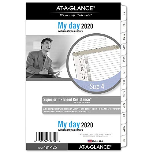 - AT-A-GLANCE 2020 Daily Planner Refill, Day Runner, 5-1/2
