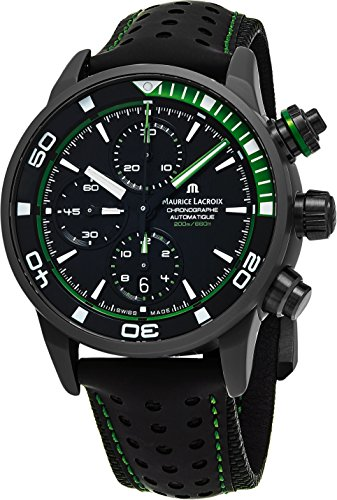 Maurice Lacroix Pontos S Extreme Diver Chronograph Mens Watches - 43mm Black Dial Black Leather Band Swiss Automatic Dive Watch For Men PT6028-ALB01-332-1
