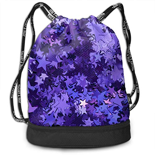 Swiming Travel School Beam Backpack Purple foil stars Beam Bag Basketball, Volleyball, Baseball Rucksack For Boys Teens Youth Sports & Workout - Volleyball Bag Chair Bean