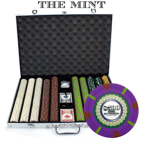 Claysmith Gaming 1,000 Ct The Mint Poker Set - 13g Clay Composite Chips with Aluminum Case, Playing Cards, Dealer Button ()