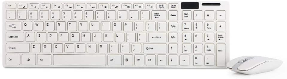 White DDDF Keyboard /& Mouse Combo Thin,Quiet 2.4 G Wireless Keyboard and Mouse Combo for Laptop Desktop PC and Smart TV
