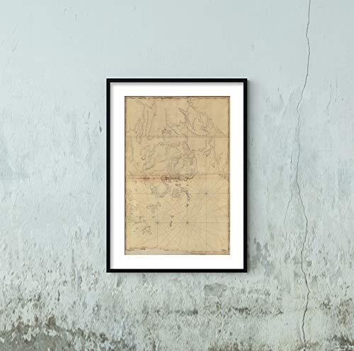 1776 Map|Title: Mount Desert Island and neighboring Coast of Maine|Subject: Atlantic Coast|Atlantic - 1776 Map